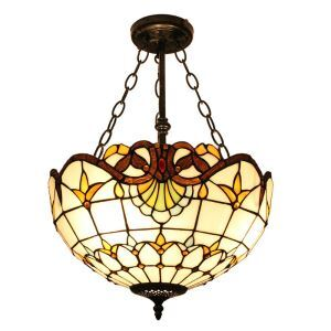 Multicolor Pattern Pendant Light European Tiffany Chandelier Bedroom Living Room Dining Room Kitchen Light with Chain