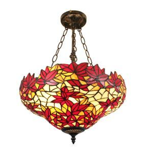 16inch European Pastoral Retro Style Chandeliers Crimson Maple Leaves Pattern Glass Shade Bedroom Living Room Dining Room Kitchen Lights