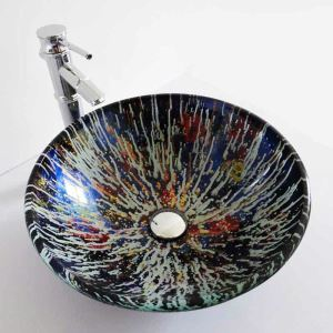 Modern Simple Round Tempered Glass Bathroom Sink(Faucet Not Included) Multicolor Pattern