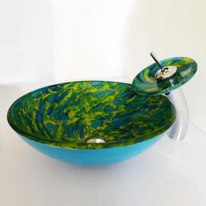 Modern Simple Round Tempered Glass Bathroom Sink With Waterfall Faucet Mounting Ring and Water Drain Set Blue and Green Spiral Pattern