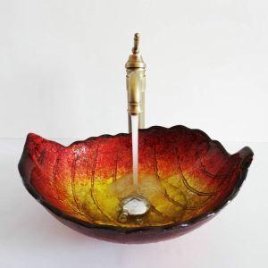Modern Simple Tempered Glass Bathroom Sink Gold Red Gradient Color Leaf Shape