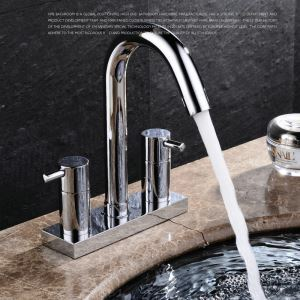 Modern Simple Style Bathroom Chrome Plating Sink Faucet Deck Mounted Double Hole Double Handle