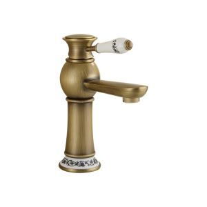 Antique Brushed Finish Brass Sink Faucet Single Hole Single Handle
