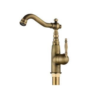 Antique Brushed Brass Sink Faucet Single Hole Single Handle