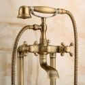 Antique Brushed Brass Bathroom Tub Faucet Double Hole 2 Handle