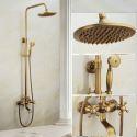 Antique Brushed Finish Brass Bathroom Shower Faucet with Handheld Shower Carved Base 3 Hole 2 Handle