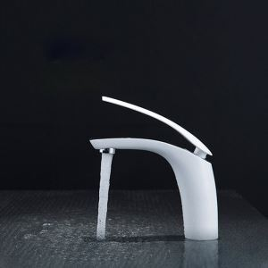Modern Simple Style Bathroom Sink Faucet Deck Mounted Single Hole Single Handle 6 Color Available
