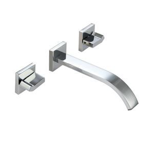 Modern Simple Style Bathroom Chrome Plating Faucet Wall Mounted 3 Hole Double Handle