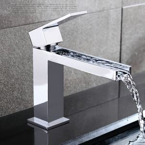 Modern Chrome Bathroom Sink Faucet Deck Mounted Basin Tap