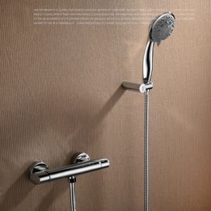 Modern Simple Style Bathroom Shower Faucet Chrome Plating Craft Wall Mounted 3 Hole Single Handle
