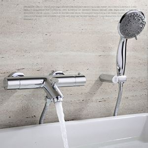Modern Simple Style Bathroom Shower Faucet Chrome Plating Craft Wall Mounted 3 Hole Double Handle