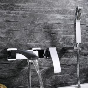 Modern Bathroom Shower Faucet Wall Mounted Tub Filler Faucet and Hand Held Shower Single Handle