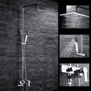 Modern Simple Chrome Plating Bathroom Shower Faucet with Handheld Shower 3 Hole Double Handle