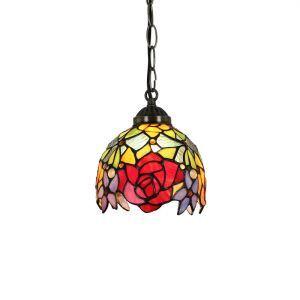 6inch European Pastoral Retro Style Pendant Light Red Rose Pattern Shade Bedroom Living Room Dining Room Kitchen Lights