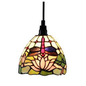 6inch European Pastoral Retro Style Pendant Light Dragonfly and Lotus Pattern Shade Bedroom Living Room Dining Room Kitchen Lights