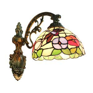 8inch European Pastoral Retro Style Sconce Dragonfly and Flower Pattern Shade Bedroom Living Room Dining Room Kitchen Lights