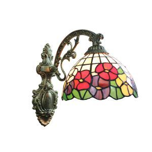 8inch European Pastoral Retro Style Sconce Colorful Flowers Pattern Shade Bedroom Living Room Dining Room Kitchen Lights