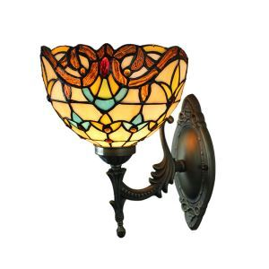 8inch Sconce European Pastoral Retro Style Wall Light Colorful Pattern Shade Bedroom Living Room Dining Room Kitchen Lights
