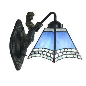 8inch European Pastoral Retro Style Sconce Blue Shade Mermaid Carrying Lantern Modeling Base Bedroom Living Room Dining Room Kitchen Lights