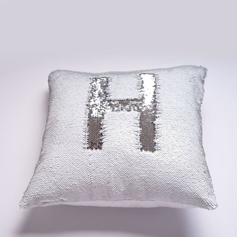 Mermaid Pillow Cover Silver White Change Color Sequins