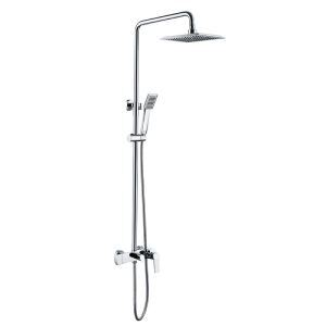 Modern Simple Style Chrome Plating Bathroom Shower Faucet Square Sprinkler Wall Mounted 3 Hole Single Handle