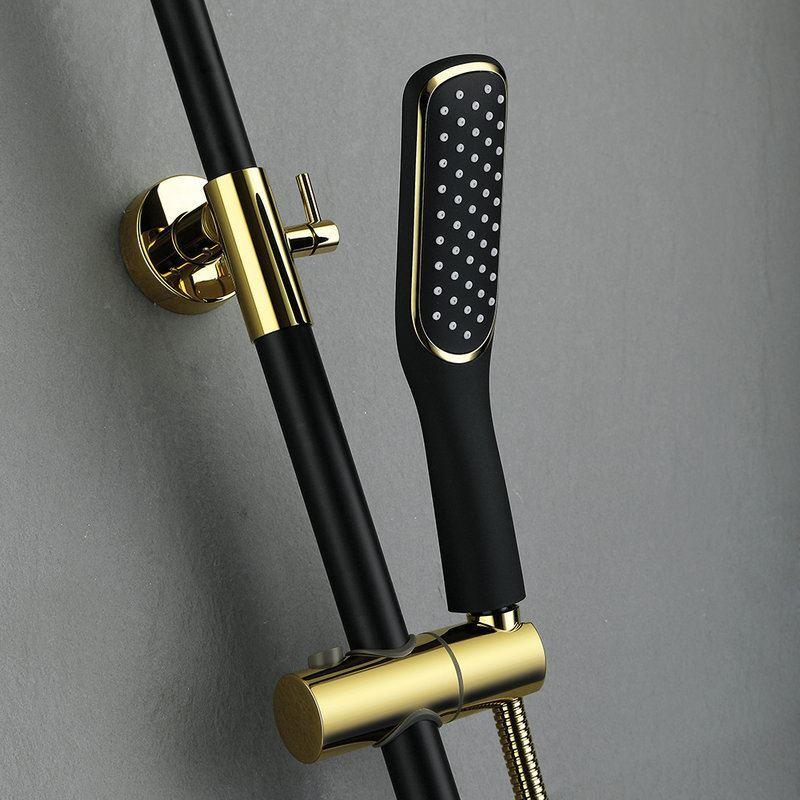 European Retro Style Black Bathroom Shower Faucet Square