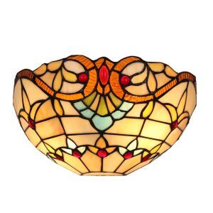 12inch Sconce European Pastoral Retro Style Wall Light Colorful Pattern Shade Bedroom Living Room Dining Room Kitchen Lights