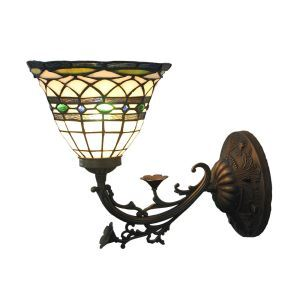 12inch European Pastoral Retro Style Sconce Colorful Pattern Shade Bedroom Living Room Dining Room Kitchen Lights