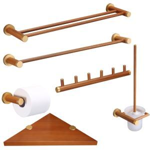 European Simple Style Bathroom Products Bathroom Sets Double Rod Towel Bar Single Rod Towel Bar 6 Hook Robe Hook Toilet Roll Holders Triangle Bath Shelf Toilet Brush Holder