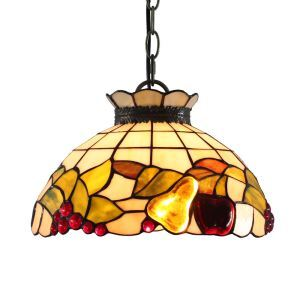 12inch European Pastoral Retro Style Pendant Light Colorful Fruit Pattern Glass Shade Bedroom Living Room Dining Room Kitchen Lights