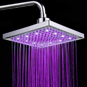 Colors Changing LED Chrome Shower Faucet Head of 8 inch Contemperature Control