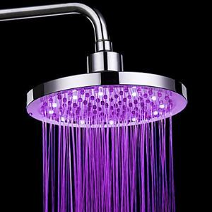 7 Colors Changing LED Contemporary Chrome Shower Faucet Head of 8 inch