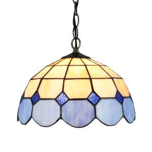 12inch European Pastoral Retro Style Pendant Light Mesh Pattern Blue and Light Grey Glass Shade Bedroom Living Room Dining Room Kitchen Lights