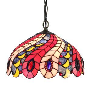 12inch European Pastoral Retro Style Pendant Light Pteris Feathers Pattern Glass Shade Bedroom Living Room Dining Room Kitchen Lights