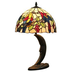 12inch European Pastoral Retro Style Table Lamp Parrot Pattern Shade Bedroom Living Room Dining Room Lights