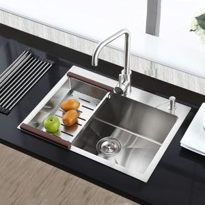Contemporary Deep Kitchen Sink 304 Stainless Steel Thicken Handmade Single Bowl Kitchen Washing Sink with Drain Basket HM6545