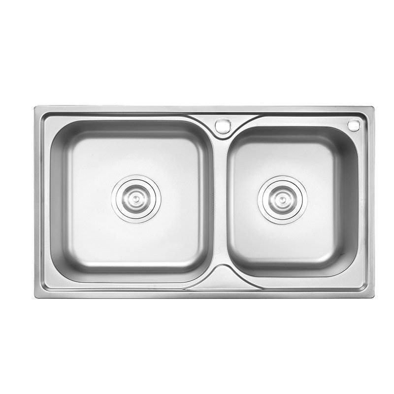 Modern Simple 304 Stainless Steel Sink Double Bowl Kitchen Washing With Drain Basket And Liquid