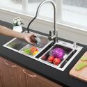 Best Thicken Stainless Steel Sink for Kitchen Double Bow with Drain Basket and Liquid Soap Dispenser HM7240