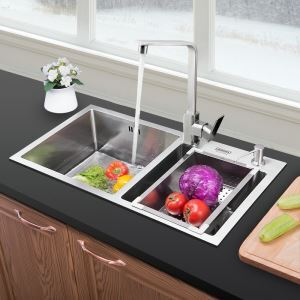 Large Double Bowl Kitchen Sink with Drainer 304 Stainless Steel Thicken 1.2mm Handmade Wash Sink HM7843
