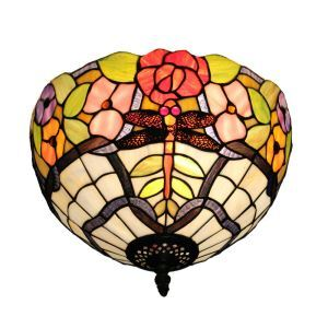 12inch European Pastoral Retro Style Flush Mounts Dragonfly and Flower Pattern Shade Bedroom Living Room Dining Room Lights