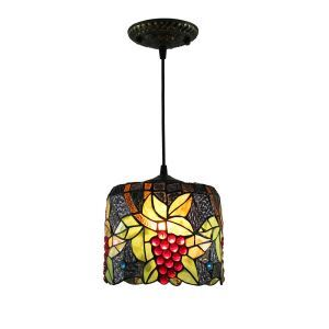 8inch European Pastoral Retro Style Pendant Light Grape Pattern Glass Shade Bedroom Living Room Kitchen Light