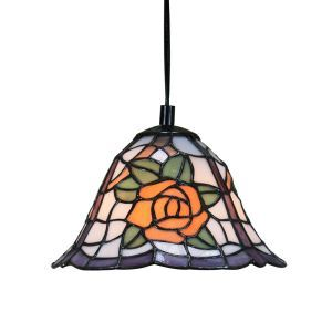 8inch European Pastoral Retro Style Pendant Light Yellow Rose Pattern Glass Shade Bedroom Living Room Kitchen Light