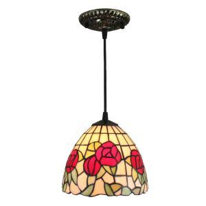 8inch European Pastoral Retro Style Pendant Light Red Rose Pattern Glass Shade Bedroom Living Room Kitchen Light