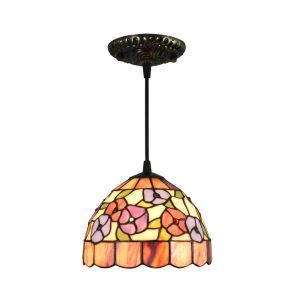 8inch European Pastoral Retro Style Pendant Light Colorful Small Flower Pattern Glass Shade Bedroom Living Room Kitchen Light