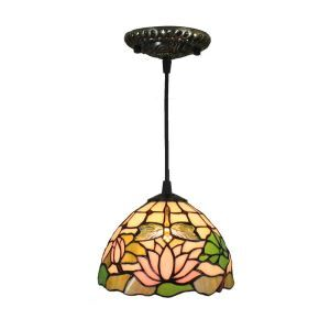 8inch European Pastoral Retro Style Pendant Light Lotus Pattern Glass Shade Bedroom Living Room Kitchen Light
