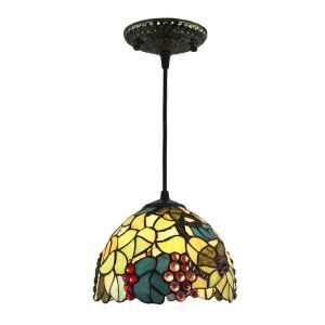 8inch European Pastoral Retro Style Pendant Light Colorful Grape Pattern Glass Shade Bedroom Living Room Kitchen Light