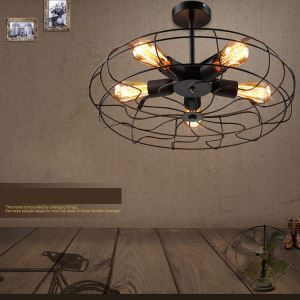 (For Sale) Industrial Style Lighting Black Semi Flush Mount