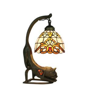 European Pastoral Retro Style Table Lamp Little Cat Base Colorful Pattern Bedroom Living Room Dining Room Lights 8inch Lampshade