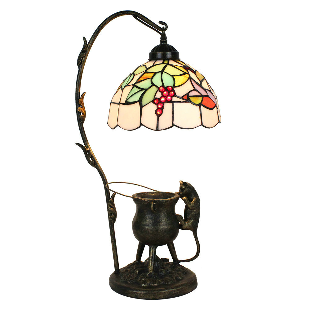 European Pastoral Retro Style Table Lamp Pilfering Cat