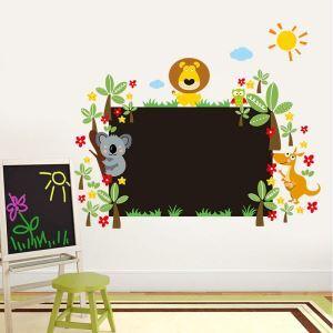 Cartoon Lion Sloth Kangaroo Owl Square Blackboard PVC Plane Wall Stickers